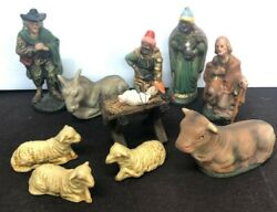 10 Pieces Antique Baby Jesus Nativity Christmas Decoration Made In Germany