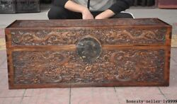 Antique Old Chinese Huanghuali Wood Dynasty Dragon Jewelry Box Storage Box Boxes