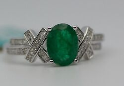 Effy 14k White Gold Oval Emerald With Round Diamond Ring Size 7.25 Msrp 2,874