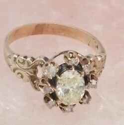 Antique 14k Gold Gia 1.04 Ct Natural Fancy Yellow Diamond Halo Ring Size 8.5