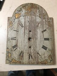 Antique American Wood Works Grandfather Clock Dial Folk Art Decorated Bird Conch