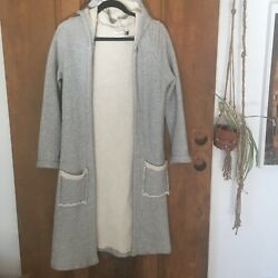 Neve Hawk Rebirth Terry Cloth Long Duster Sweater Hood Pockets Gray Xs S Womens