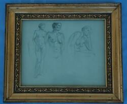 Antique Pencil And Gouache Study Drawing Of Three Nude Women In Art Nouveau Frame