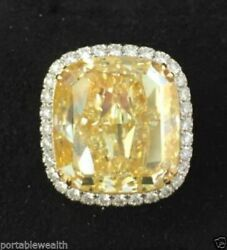 38.88ct Fancy Yellow Diamond Cushion VS1 18k YG Platinum Ring GIA PortableWealth