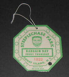 Vintage 1950s Green Coney Island Steeplechase Park String Tag Ticket Bargain Day