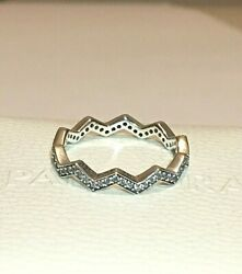 Pandora Shimmering Zigzag Ring 197751cz S925 Ale Sterling Silver