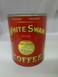 Vintage White Swan Brand Coffee Tin Advertising Collectible Can 736-t