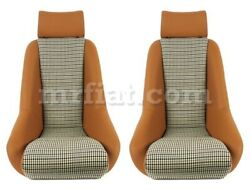 For Porsche 911 Rr Seat Beige Leather Houndstooth Set New Defective
