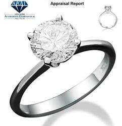 Diamond Ring Round 14 Kt White Gold Four Prong Authentic 1.19 Ct Solitaire