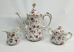 Lefton Rose Chintz China Coffee Pot W/creamer And Covered Sugar Bowl, Hand Painted