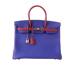 Hermes Birkin 35 Bag HSS Electric Blue Rouge Grenat Togo Gold Hardware