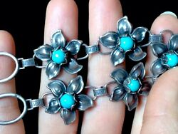 Early Native American Art Deco/art Nouveau Turquoise Sterling Silver Necklace