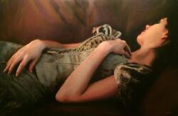 New William Oxer Frsa Original The Last Of The Light Brunette Woman Painting