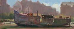 Beautiful Original Mark Harrison Rusting Boat Newhaven Oil On Canvas Painting
