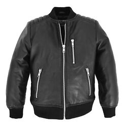 Boys Real Leather Bomber Kids Jacket Varsity Childrens 2-12 Years Old Ch23 Black