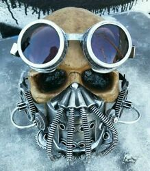 Early Spring 'BANE' Mask Goggles Set- Distressed Silver Tubes Coils STEAMPUNK