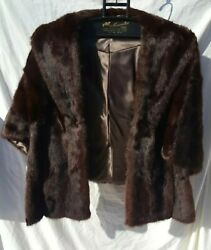 VINTAGE WOMEN'S FELLER'S BROWN MINK FUR CAPE SHAWL WRAP with Pockets size Small
