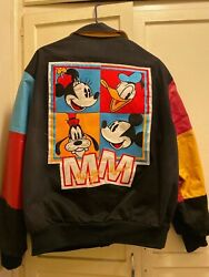 Jeff Hamilton 1990s Disney Leather and Black Denim Jacket Adult Small $150.00
