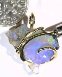12.50ct African Crystal Opal In 14kt Gold Art Wire Wrap Pendant