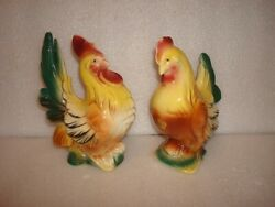 Set Of Royal Copley Hen And A Gold Banty Rooster With Label