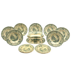 Transfer Ware, Dishes, 13-piece Pale Green English, Beautiful Decor, Antique