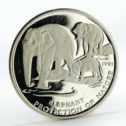 Cambodia 20 Riels Protection Of Natur Elephant Silver Coin 1993