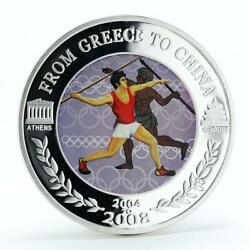 Niue 50 Cents From Greece To China Javelin Throw Copper Silverplated Coin 2004