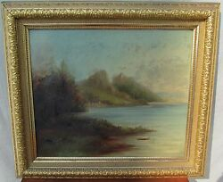 19th C Oil On Canvas Antique Landscape Painting Frost And Adams Frame Maine Shore