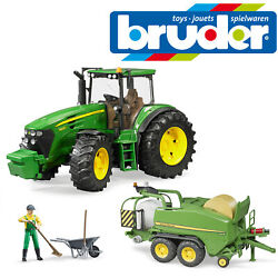 Bruder John Deere 7930 Tractor And Baler Wrapping Chamber And Farmer Figure Kids Toy