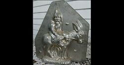 Original Antique Metal Chocolate Mold – Santa With Bags And Riding Donkey