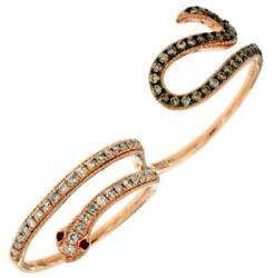 .5ct White And Mocha Diamond And Aaa Ruby 14k Rose Gold Snake Double Finger Fun Ring