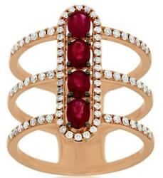Wide 1.2ct Diamond And Aaa Ruby 14k Rose Gold Oval And Round Multi Row Bar Love Ring