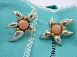And Co Vintage Sterling Silver 18k Gold Coral Flower Starfish Earrings