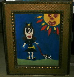 Vintage Painting: Little Girl with her Dog and Mr. Sunshine! VERY Unique