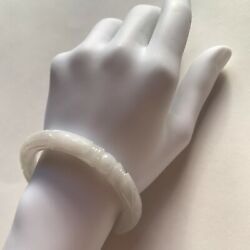 732 Antique Dragon And Pearl Carved Jadite Bangle Ice White Jade Japan C. 1870