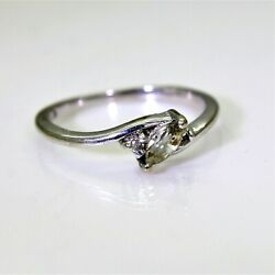 9ct 9k White Gold White Sapphire Marquise Ring Size 3 3/4 - G 1/2