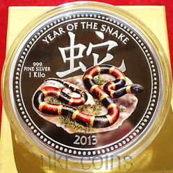2013 Niue 30 Lunar Year Of The Snake 蛇 1 Kilo Silver Colored Proof Coin Nz Mint