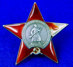 Soviet Russian Russia Ussr Wwii Ww2 Silver Red Star Order Medal Badge 194700