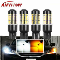 4x White Amber Dual-color Switchback 7443 120-SMD LED Turn Signal Packing Light