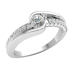 18k Gold 0.6ct Round Cut Real Diamond Engagement Ring For Women Solitaire F Vs1