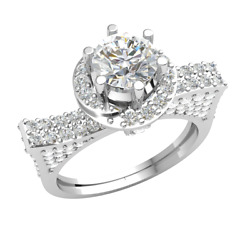 10k Gold Engagement Ring For Women 1.7ct Round Brilliant Cut Diamond Solitaire