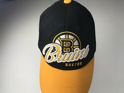 Vintage Nhl Official Boston Bruins Hat Yellow/black Stanley Cup Adjustable