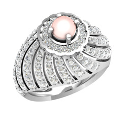 1.30ct Round Natural Diamond Pearl Solitaire Engagement Ring For Women 10k Gold