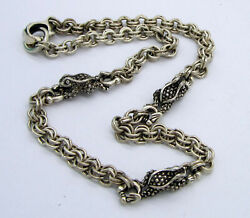 Estate Vintage Rare Barry Kieselstein Cord Sterling Silver Triple Frog Necklace