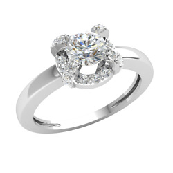 3/4ct Round Natural Diamond Halo Solitaire Engagement Ring For Women 14k Gold