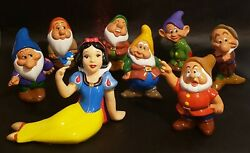 Disney's Snow White And The Seven Dwarfs Hand Painted Bisque Figurines Set Of 8