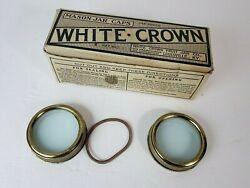Vintage Nos Full Box Of Milk Glass White Crown 12 Mason Jar Caps Gaskets And Rings