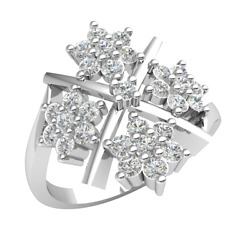 Natural 0.9ctw Round Cut Diamond 18k Gold Engagement Ring For Women Flower H Si2