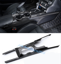 Real Carbon Fiber Car Gear Shift Box Panel Cover Trim For Ford Mustang 2015-19