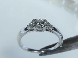 18k White Gold Ring With 0.53ct Diamonds. Classic Engagement Ring.